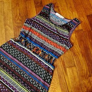 Bright tribal/Aztec print maxi dress sz sm